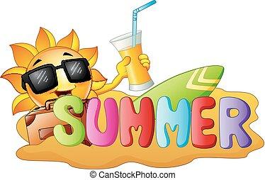 sommar, surfa, bakgrund, rolig, sol, sand, holdingen, apelsin, leende glada, juice