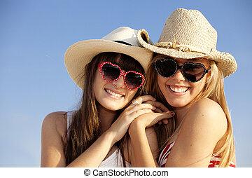 sommar, tonåren, på semester