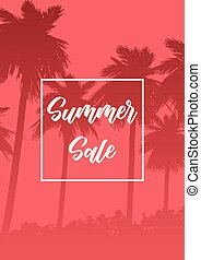 sommar, träd, försäljning, silhouettes, palm, bakgrund
