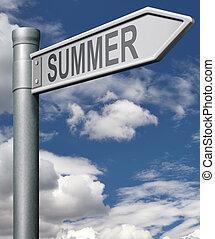 sommar, vägmärke