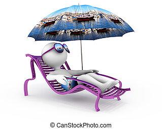 sommar, vacation:, hav, yachter, och, segla