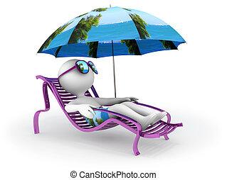 sommar, vacation:, havsstrand, avkoppling