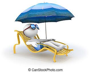 sommar, vacation:, kust, avkoppling