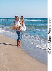sommar, vandrande, par, hav, strand, älskande