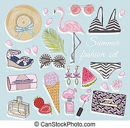 sommar, vektor, mode, tillbehör