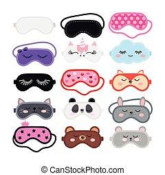 sommeil, ensemble, masques oeil, couverture, vecteur, conception, dessin animé, illustration., plat
