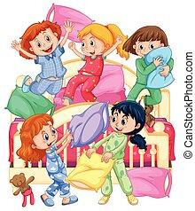 sommeil, filles, oreiller, fête, baston, jouer
