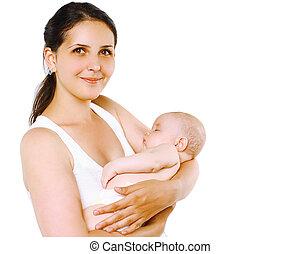 sommeil, mère, bébé, sourire, agréable, heureux