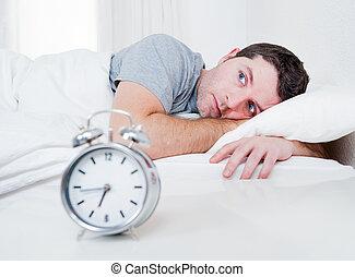 sommeil, souffrance, yeux, lit, désordre, homme, insomnie, ...