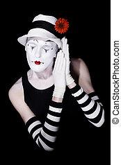 sommeil, théâtral, chapeau, clown, blanc
