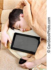 sommeils, informatique, adolescent, tablette