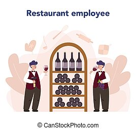 Sommelier concept. Man with a bottle of grape wine and glass