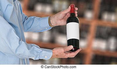 sommelier, het aanbieden van fles, van, rode wijn, om te, klant