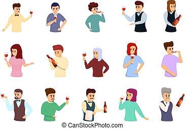 Sommelier icons set, cartoon style