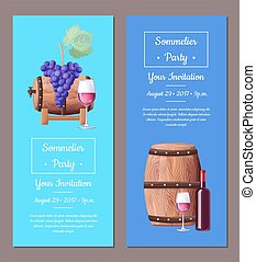 Sommelier Party Invitation Vector Illustration Set