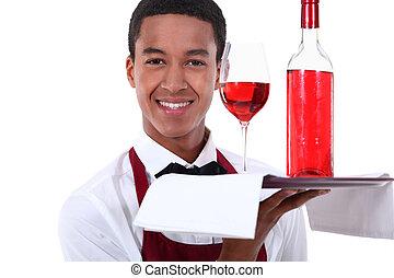 sommelier, porción, un, vino rosado
