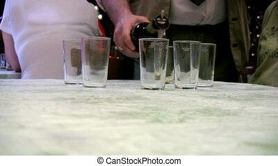 Sommelier preparing test of wine