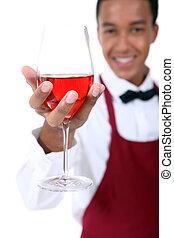 sommelier, tenencia, vidrio vino