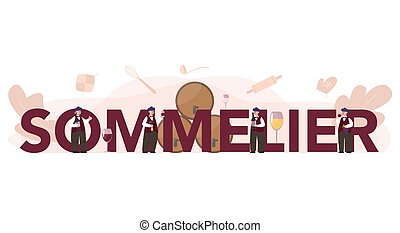 Sommelier typographic header concept. Man with a bottle of grapea
