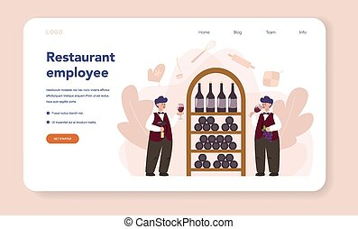 Sommelier web banner or landing page. Man with a bottle