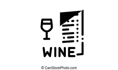 Sommelier Wine Tasting Icon Animation Sommelier Hold Glass With Alcoholic Drink, Barrel And Corkscrew, Grape And Bottle