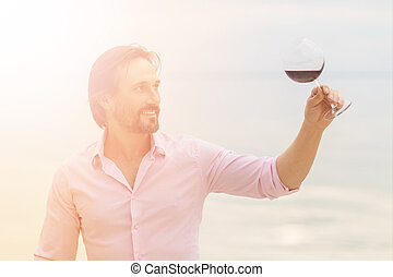 Sommelier with glass