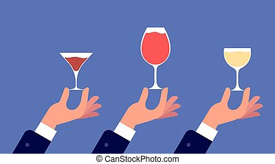 Sommelier with glass. Hands hold glasses with wine, liquor, ...