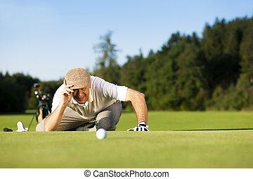sommer, älter, spielen golf spieler