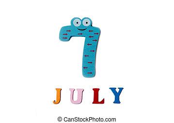 sommer, 7., bild, day., hintergrund., 7, juli, weißes