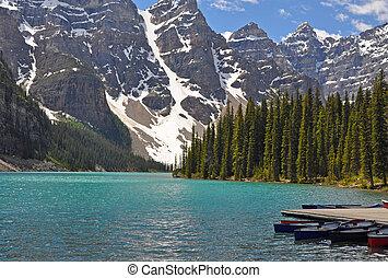 sommer, an, moräne see, in, banff nationalpark