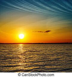 sommer, appelsin, solnedgang, hen, mørkn, hav