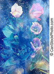 sommer, auftauchen, tulpen, junger, vier, draußen, wachsen, ...