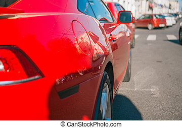 sommer, automobilen, sport, parker, gade., dag, rød