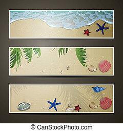 sommer, banner, vektor, sandstrand