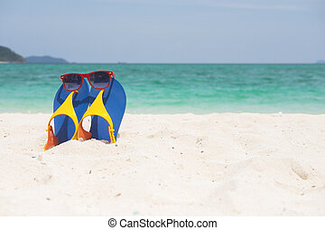 sommer, begriff, concept., urlaub, tropische , kueste, sandig, meer, feiertag, sandstrand, sandals
