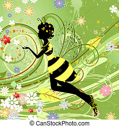 sommer, blomst, bi, fantasien, pige, fairy