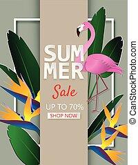 sommer, blomst, omsætning, illustration, kreative, tropisk, skære avis, baggrund, flamingo, blade, style.
