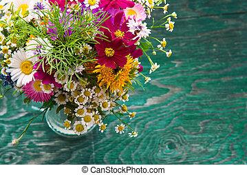 sommer, blomster, oppe, mock