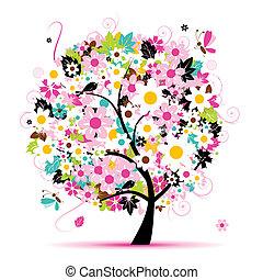 sommer, blomstrede, træ, by, din, konstruktion