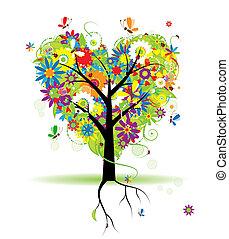 sommer, blomstrede, træ, hjerte form