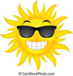 sommer, brille, glücklich, sonne