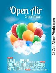 sommer, bunte, fest, plakat, luft, rgeöffnete, flieger, schablone, party, luftballone, oder, design.