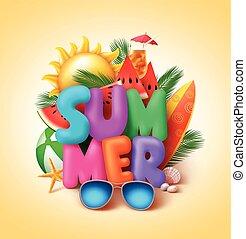 sommer, bunte, text, vektor, design, banner, 3d
