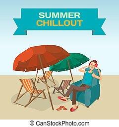 sommer, chillout., sandstrand, rahmen, meer, landschaftsbild, hört, schirme, sonne, musik, chair., sandstrand, wohnung, sitzen, beds., abbildung, hintergrund, mann, kopfhörer, während, vektor, liebhaber