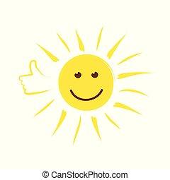 sommer, daumen, sonne, gesicht, lächeln, glücklich