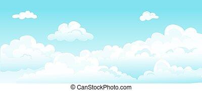 sommer, decke, karikatur, schoenheit, himmlisch, tapete, träume, wolke, blaue himmel, flaumig, himmelsgewölbe, weißes, clouds., hintergrund., lockig, horizontal, vektor