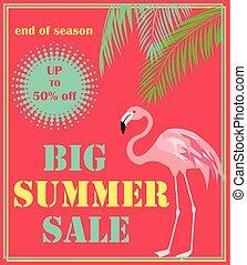 sommer, deco, kunst, håndflade, etiketten, style., banner, flamingo., card, flyer, hede, plakat, rød, byde, stor, etikette, baggrund, brochure, blade, omsætning, vektor, tekstning