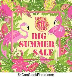 sommer, deco, kunst, håndflade, etiketten, style., lyserød, banner, flamingo., card, flyer, tropisk, plakat, tekstning, byde, stor, etikette, baggrund, brochure, blomster, omsætning, blade, vektor
