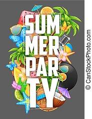 sommer, design, partyl, plakat