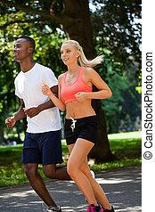 sommer, draußen, läufer, paar, park, junger, jogger